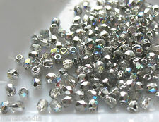 Czech Fire Polish Glass 2TINY® 2mm Crystal Silver AB Round 100 Spacer Beads