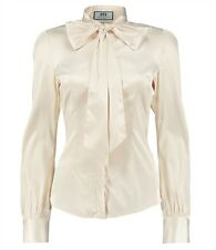 Hawes & Curtis Womens Cream Fitted Satin Pussy Bow Blouse Shirt 8