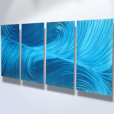 Abstract Metal Wall Art- Contemporary Modern Decor Original Echo in Blues