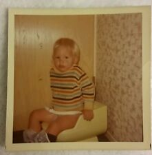 Vintage Old 1972 Funny Color Photo of Little Blond Boy On The Toilet Going Potty