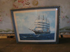 Vintage Antique Early 20th Century Gerald M Burn Print of Clipper Ship
