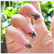 3D Nail Art Decals Transfer Stickers French Tip Design Black & Gold (3D875)