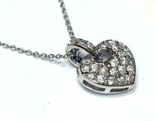 New 92.5% Sterling Silver Pave Cz Valentines Heart Charm Pendent On Chain & Box