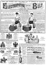 Victorian Adverts; Electropathic Belt, Swiss Milk, Glycerine -Antique Print 1885