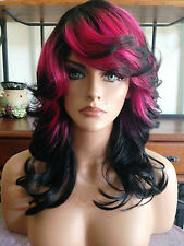 FREE SHIPPING Classic Cap Wig - Quality Synthetic Hair - Brown & Hot Pink Retro