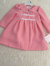 Bonnie Jean Baby Girl Easter Coral Dress & Matching Jacquard Coat 24M New