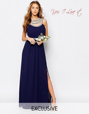 TFNC WEDDING Embellished Maxi Evening Cocktail Party Dress in Navy UK8 EU36 US4