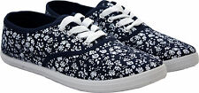 womens ladies girls plimsolls pump floral casual lace up canvas trainers shoes