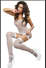 Women Sexy Lingerie Fishnet White Body Stocking Bodysuit Nightwear