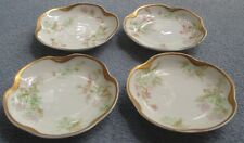 FOUR Haviland Schleiger 45 Butter Pats Pink & Green Roses Silver Anniversary