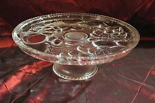 Vintage Pressed Glass Clear Pedestal Cake Stand Plate