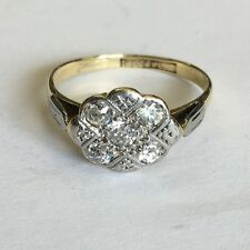 Antique Solid 18ct Gold Hallmarked 5 Stone Platinum Set Diamond Ring Size L1/2