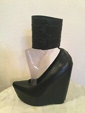 "Jeffrey Campbell ""Zeke"" Black Leather Buckled Ankle Cuff Platform Wedge US Sz 6M"