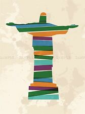 PAINTING DRAWING CHRIST STATUE RIO COLOUR STRIPS STYLE ART PRINT POSTER MP3725A