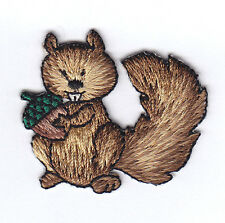 SQUIRREL w/ACORN- FOREST ANIMAL/Iron On Embroidered Applique Patch/Cute Critters