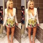 Sexy Women Deep V Long Sleeve Bodycon Casual Cocktail Clubwear Short MIni Dress