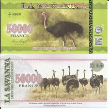 LA SAVANNA 50000 FRANCS 2016 LOTE DE 5 BILLETES