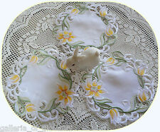 "Lovely Lily Flower Lace 7.5"" Doilies ~ Set of 3 ~  flower Yellow white"