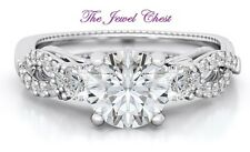 2 Ct Round Solitaire D/VVS1 Diamond Infinity Band Engagement Ring set White Gold