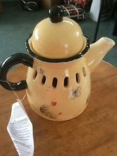 "Homco Home Interiors""Wildflower Breeze Teapot Accent""NIB #11386 Candle Cover"