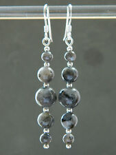 Labradorite Graduating Round Gemstones & 925 Sterling Silver Long Drop Earrings
