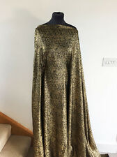 Molten Metallic Gold  Foil & Black Stretch Knit  Jersey Dressmaking Fabric