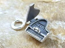 Sterling Silver Grand Piano Charm (It Opens!) on 8mm Spring Ring -3326