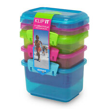 Sistema Klip It 400ml Storage Containers  Pack of 3  Blue  Lime Green & Pink