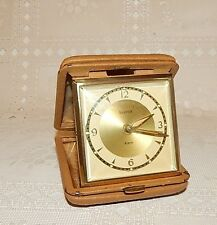 VINTAGE BANCOR TRAVEL ALARM CLOCK LEATHER CASE~REPAIR OR PARTS~WILL RUN AT FIRST
