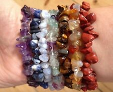 7 CHAKRA GEMCHIP BRACELETS POUCH CRYSTAL HEALING GEMSTONE MIXED NATURAL REIKI