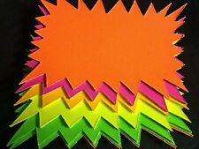 50 x neon Fluorescent Stars Flash Price Display Tags Flourescent Labels 15x10cm