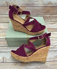 Ladies Purple Faux Suede Wedge Sandals Size 4 BNIB