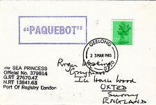 (34411) GB to GB Paquebot Cover P&O Sea Princess - Geelong Australia 23 Mar 1983