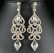 SEXY AUSTRIAN CRYSTAL RHINESTONE GOLD CHANDELIER DANGLE EARRINGS BRIDAL E2084G