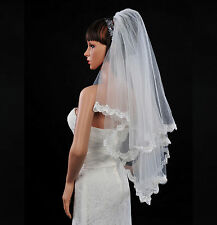 New 2 Layer Ivory Elbow Length Tulle Bridal Wedding Veil Lace Edge with Comb