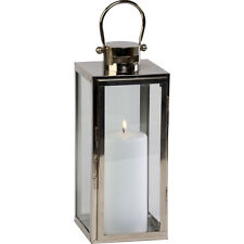 Firefly Platinum Metal Tall Square Lantern Floor Hanging Torch Candle Holder