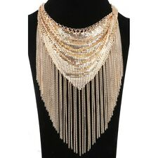 Unusual Statement Gold Metal Scarf  & Tassel Chain Necklace  By Rocks Boutique