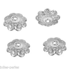 50PCs Stainless Steel Flower Bead Caps silver tone embossing shape 10mmx10mm