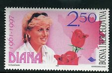 BOSNIA & HERZEGOVINA 1997 DIANA PRINCESS of WALES/ROYALTY/AID/FLOWERS/ROSES MNH