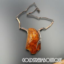 VINTAGE STERLING SILVER MASSIVE BALTIC AMBER MODERNIST NECKLACE 21""