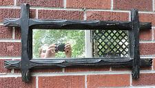 Antique Old BLACK Paint ADIRONDACK Rustic Folk Art Carved Frame MIRROR c1870-80s