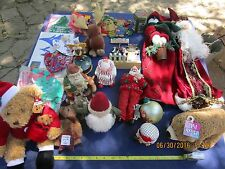 vintage lot of assorted Christmas Holiday decorations bears santas ornaments etc