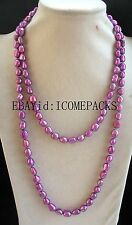 "freshwater pearl deep purple 8-10mm baroque necklace 43"" nature wholesale bead"