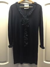 By Moshino Cheap and Chic Vintage Navy Dress Long Sleeves Ruffles