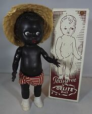 "VINTAGE 1950s BOXED 7"" PEDIGREE DELITE BLACK ETHNIC HARD PLASTIC DOLL WITH HAT"
