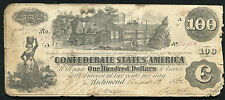 "T-39 1862 $100 ONE HUNDRED DOLLARS CSA CONFEDERATE STATES OF AMERICA ""TRAIN"""