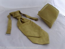 Grosgrain Fabric   Gold BOYS Scrunchie Ruche Wedding Tie-Cravat and Hankie Set
