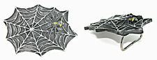 Vintage Dark Spider Web W/ Yellow Spot Spider Belt Buckle Body Jewelry UK Sale
