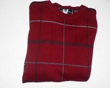 OSCAR  DE LA RENTA MEN'S BURGANDY LONG SLEEVE SWEATER 100% COTTON-SIZE MEDIUM