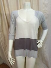 Joie NEW! Ivory/Gray Color Block Linen/Viscose Knit 3/4 Sleeve Pullover Top Sz S